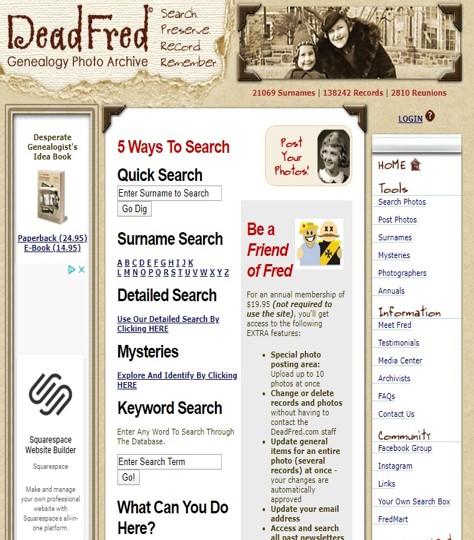 screenshot of deadfred.com