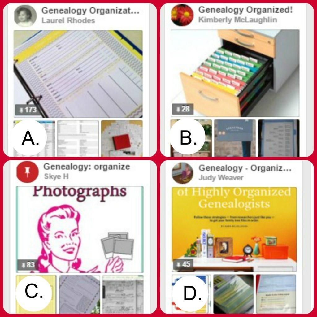 Genealogy Organization Pinterest Boards