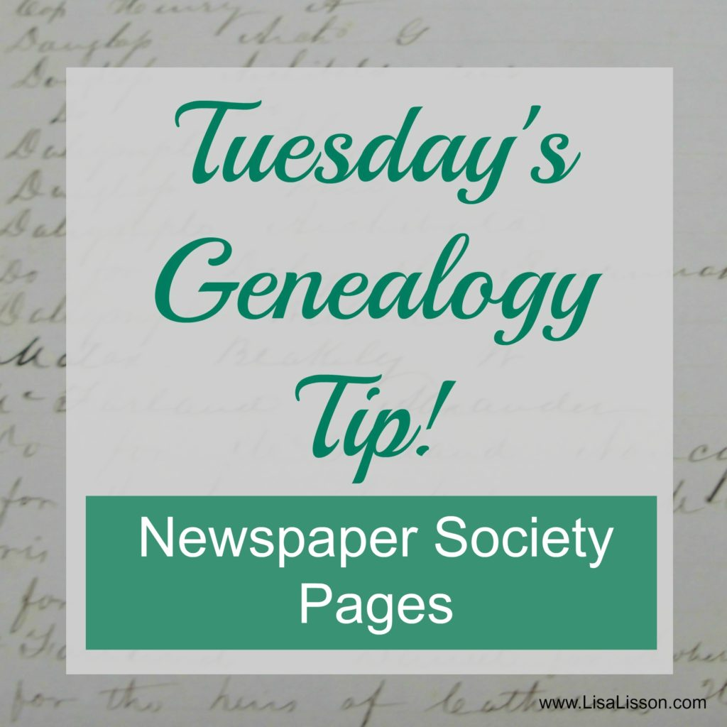Tuesday's Genealogy Tip - Newspaper Society Pages