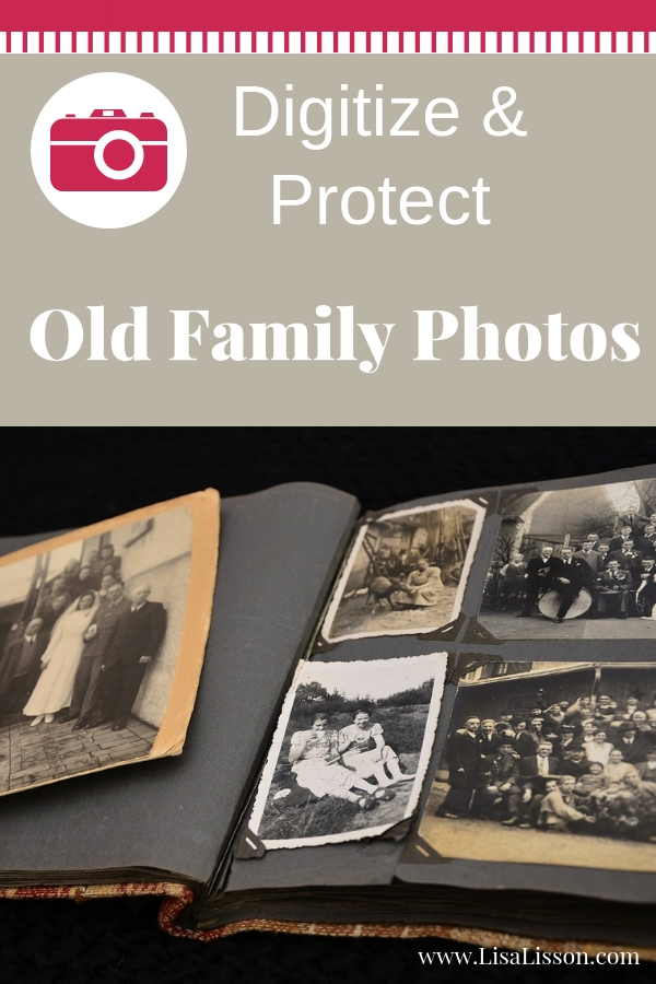 """old photo album with black and white photos on black paper. White lettering on tan background reading """"Digitize and Protect Old Family Photos."""""""