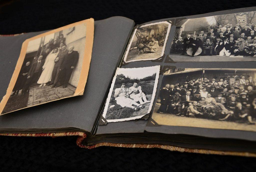 old family photos in album