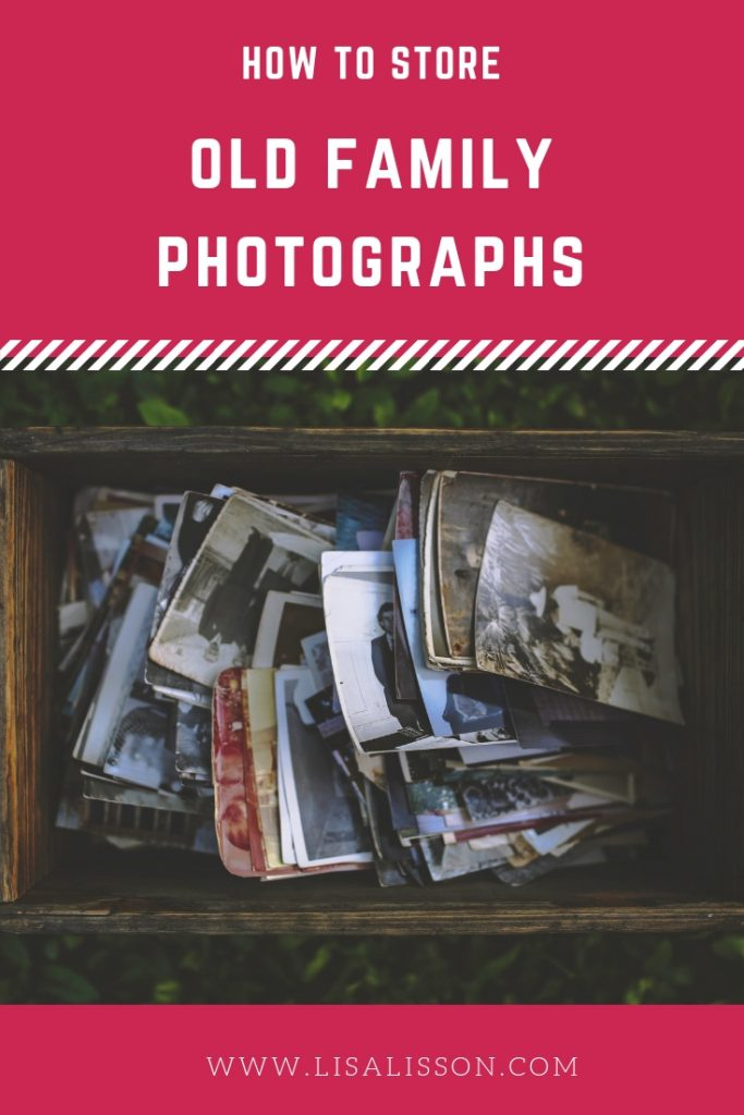 Have boxes of family photos? Not sure what to do with them? Learn how to store old photos safely for future generations. #genealogy #ancestors #oldfamilyphotos