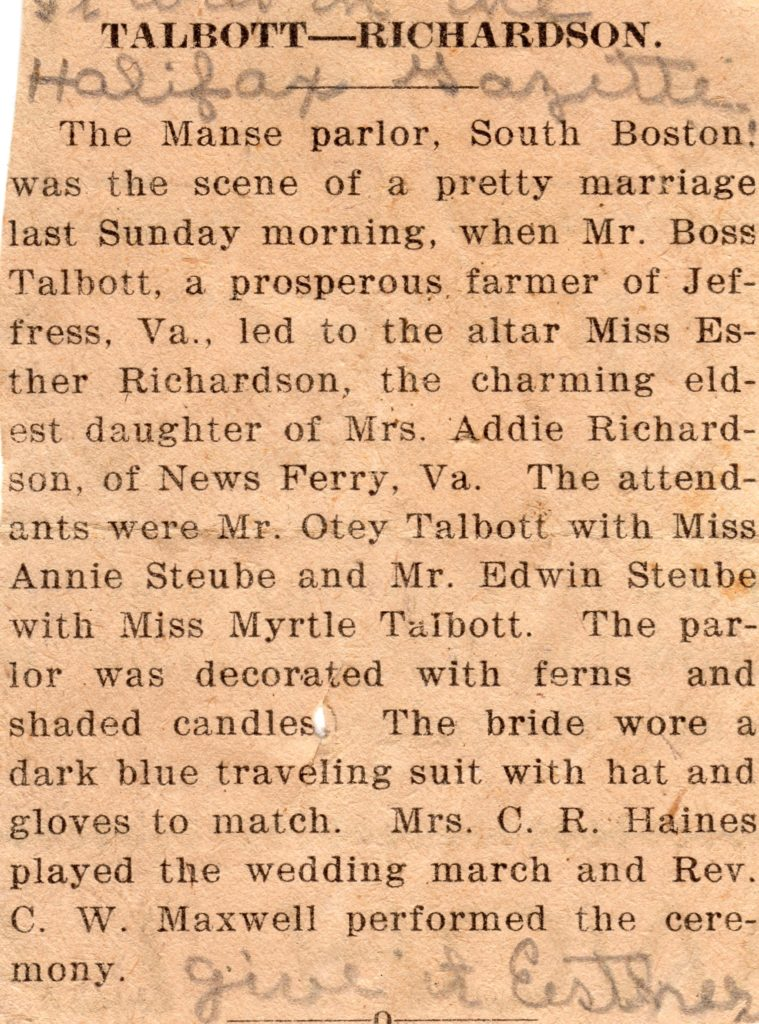 Do you have a wedding photo of your ancestors in your collection? Would you recognize your ancestor's photograph as a wedding photo? 1915 Richardson-Talbott Wedding Announcement