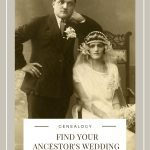 1920's antique wedding photo of bride wearing white and groom wearing nice suit with flower