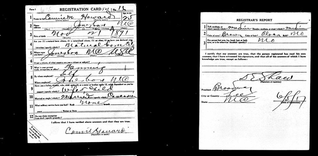 WWI Draft Card for Connie Howard