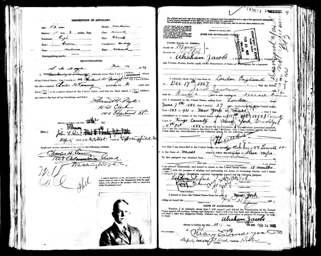 Passport Abraham Jacobs 1921