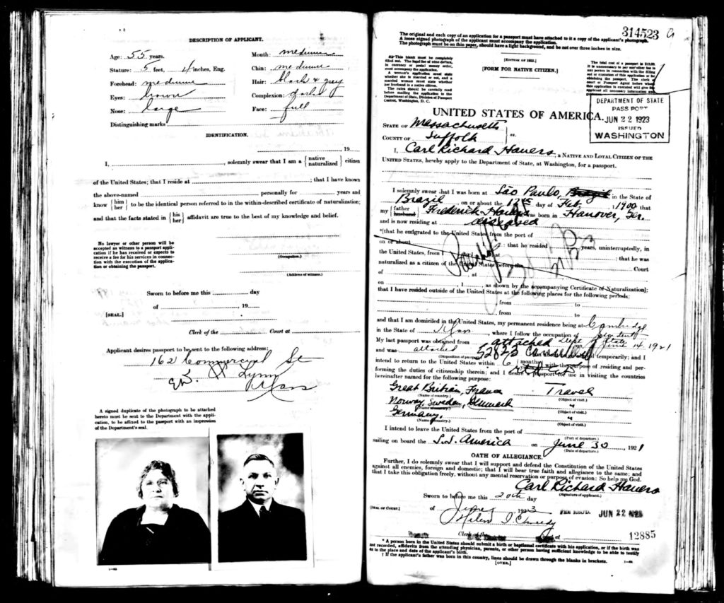 1921 Passport Application of Abraham Jacobs