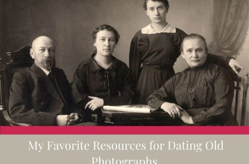 black and white photo of family of 4. White text on tan background reading My Favorite Resources for Dating Old Photographs