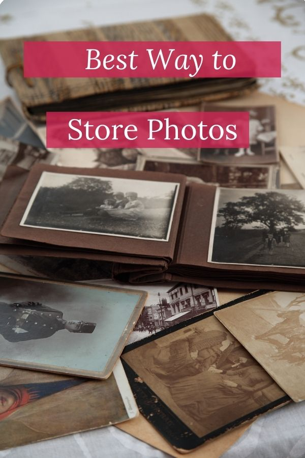 Scattering of old photos with white words on red background reading Best Way To Store Photos