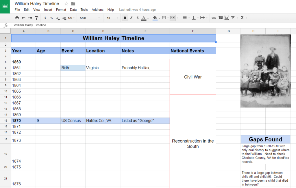 William Haley Timeline Google Sheets