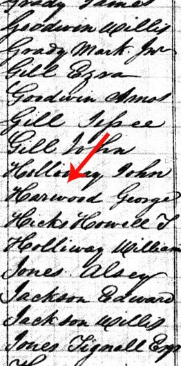 1830 Census George Harwood arrow