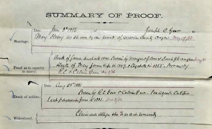 War of 1812 pension record for May Strong, widow