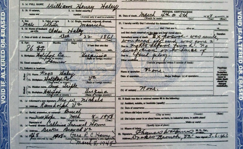 Death certificate for William H. Haley 1948