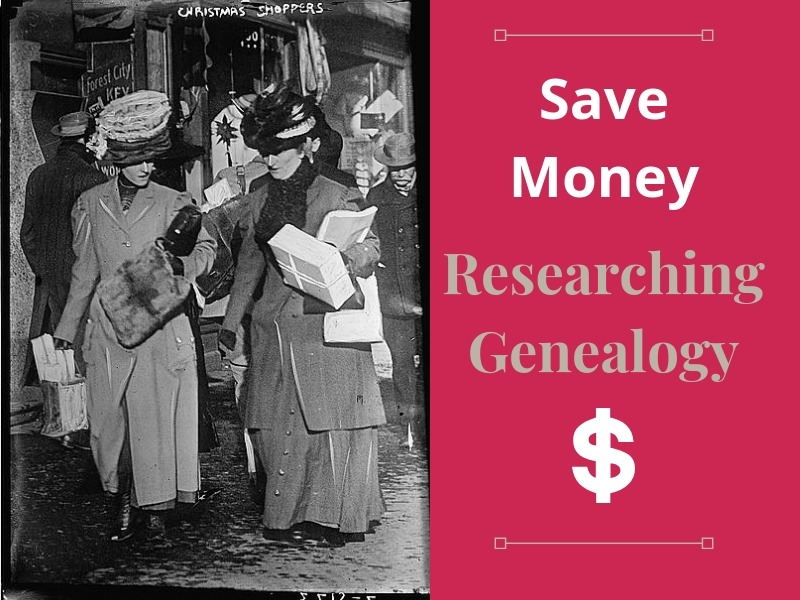 Save money and research genealogy the frugal way. Tips and strategies for finding the best bargains AND free genealogy websites. #genealogy #savemoney #free