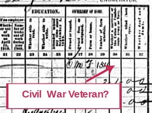 Civil War Veteran in the 1910 Census Record