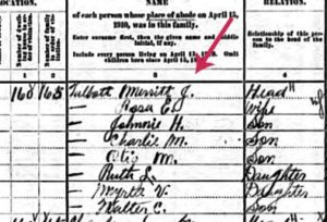 Sample from the 1910 census record