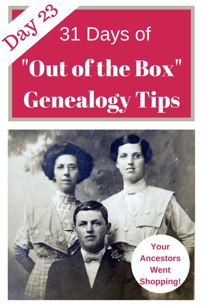 Researching merchant records of where your ancestors shopped provides important genealogical clues to your ancestor's life and community. #genealogy #areyoumycousin #ancestors #genealogytips