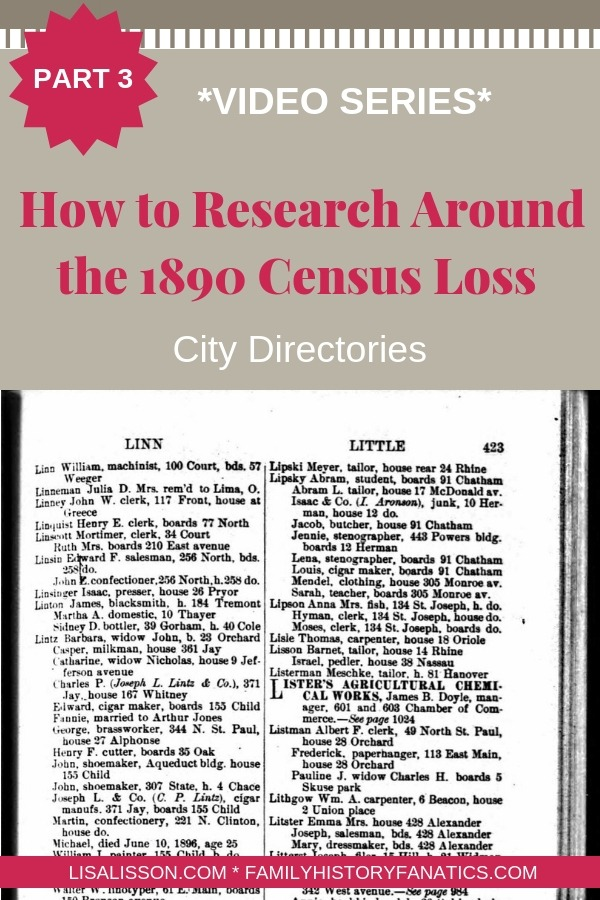 City directories are a fabulous resource for finding your ancestors despite the loss of the 1890 census. #genealogy #ancestors #1890census