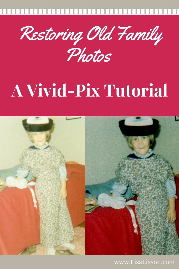 Learn how to restore and fix old family photos using Vivid-Pix. Discover new clues to your family history research!#genealogy #familyphotos