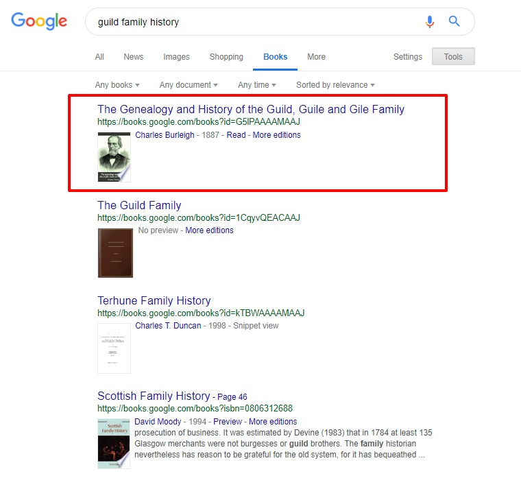 Family history search results on google books
