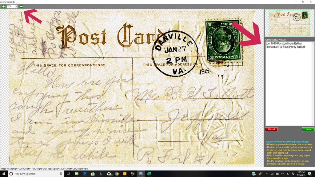 Vivid-Pix Zoom/Enlarge feature for transcribing old documents