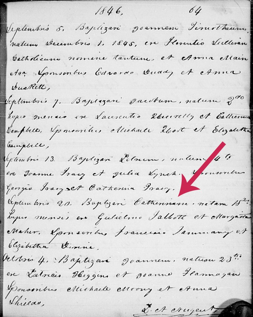 1846 Catholic baptism record