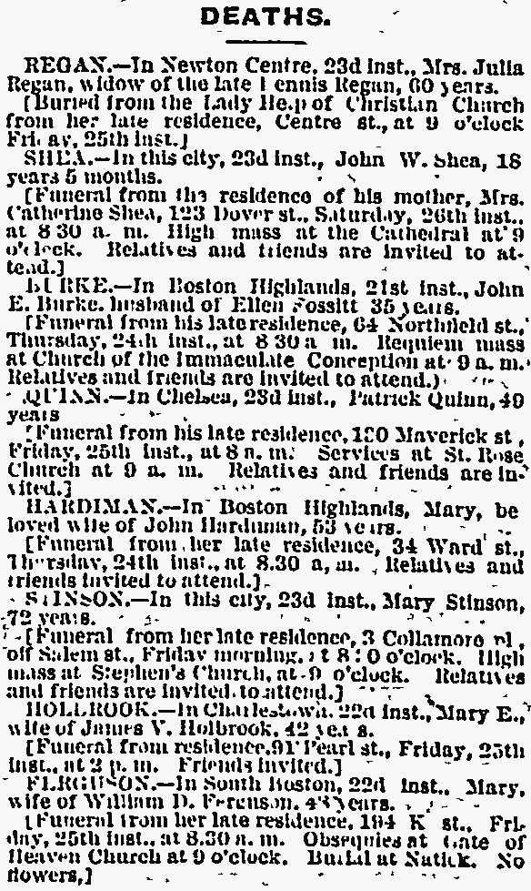 Obituaries 1872 Boston Globe