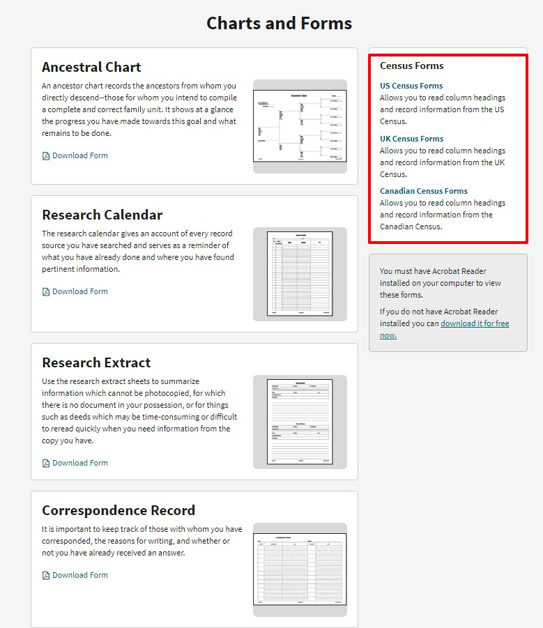 Free genealogy charts and forms at Ancestry.com including census forms, ancestral chart and research calendar