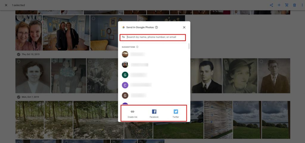 Screenshot of how to share a photo from google photos