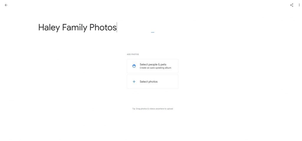 google photos album creation