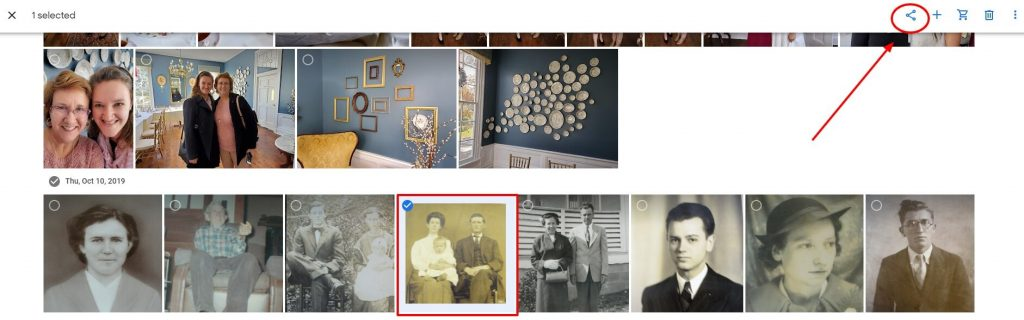 Google photos is a great option for storing and sharing your old family photographs. Oh, and it's free!