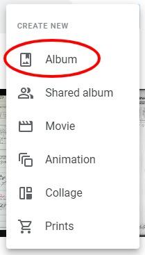 Creating an album in google photos