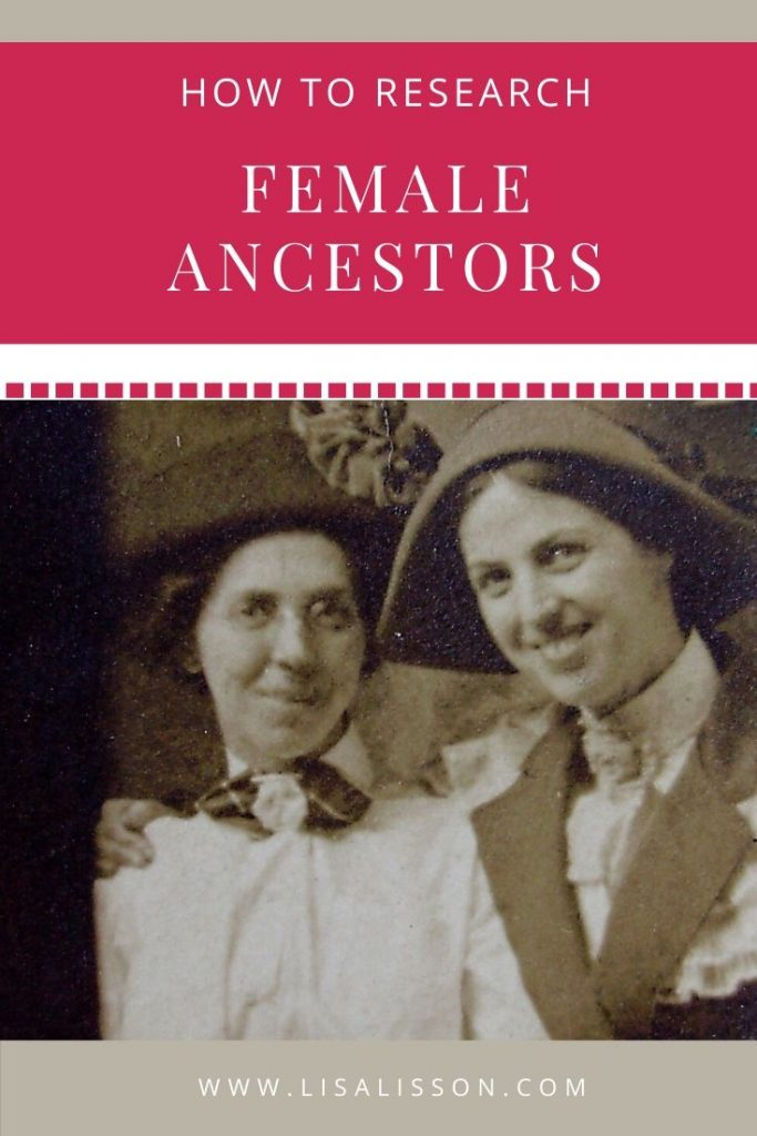 pin for finding female ancestors with 1920s photo