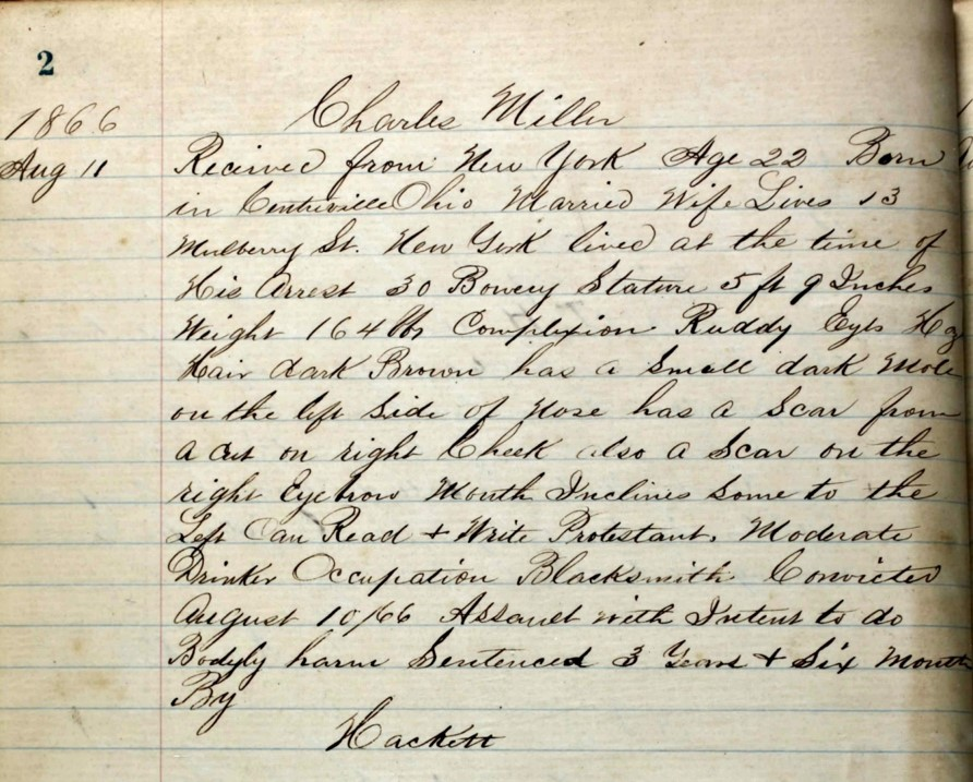 1866 Sing Sing Prison Record