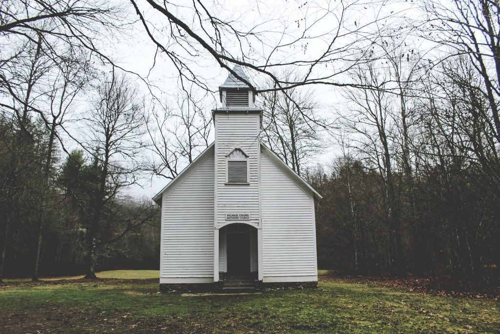 family history white church in rural setting