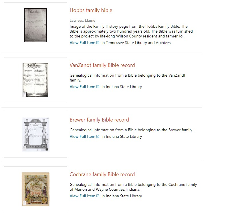 DPLA search results for family bible