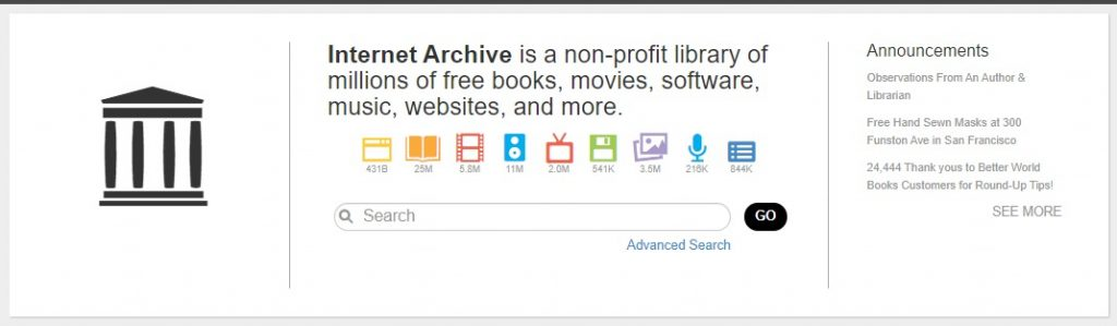 Internet Archive homepage