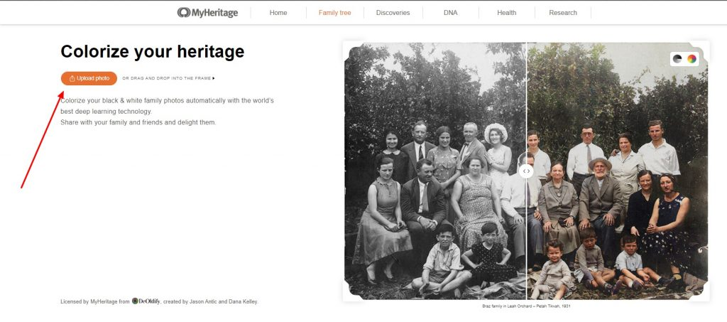 MyHeritage in Color homepage