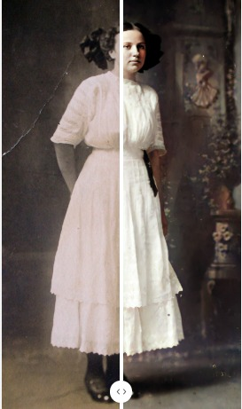 Esther Lee Richardson colorized photo comparison