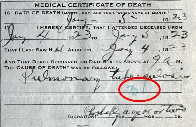 Esther Talbott Death Certificate