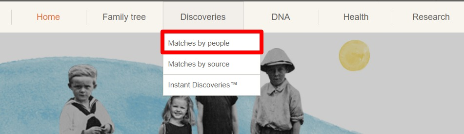 MyHeritage Matches button