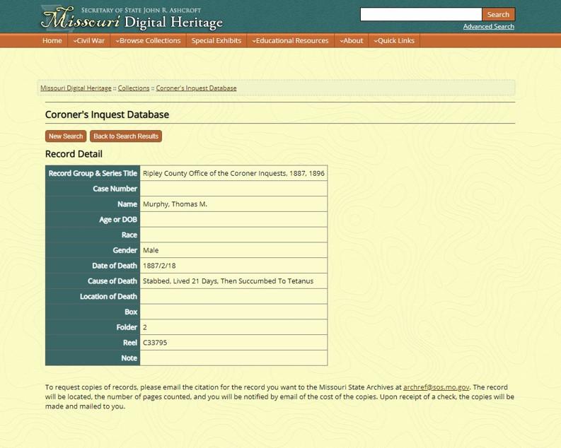 Missouri Inquest Index