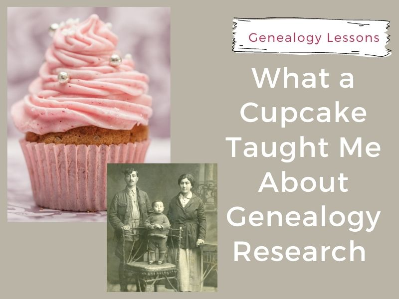 pink cupcake with old photo for genealogy research