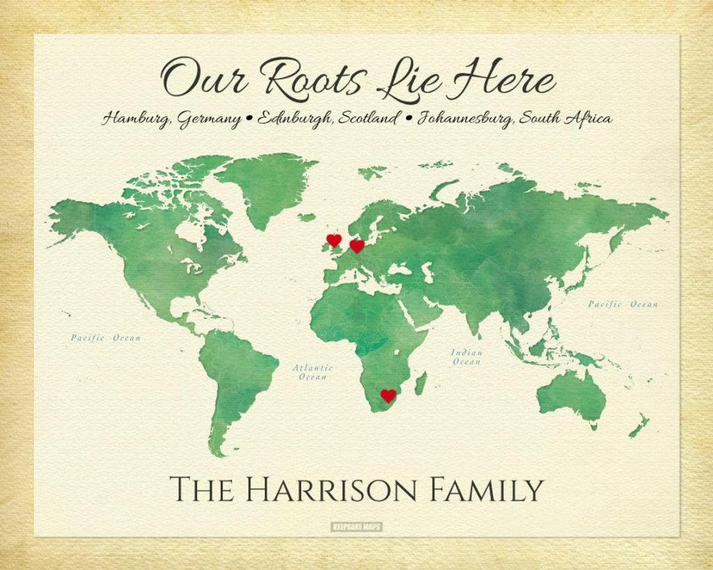 World Map with family roots