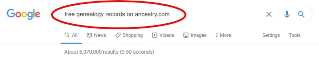 google search for free records at ancestry.com