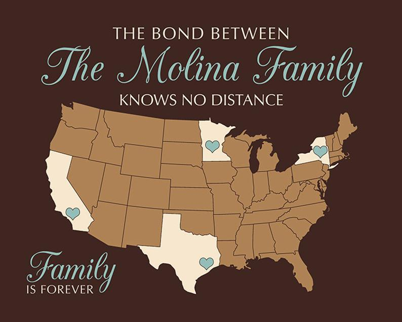brown map of U. S. with family roots