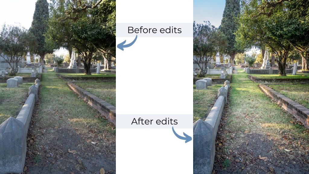 Before and After photos of pathway - photographing cemeteries