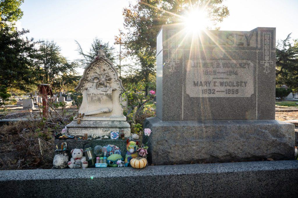 sunburst over gravestone