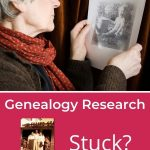 pin for stuck genealogy woman holding photo