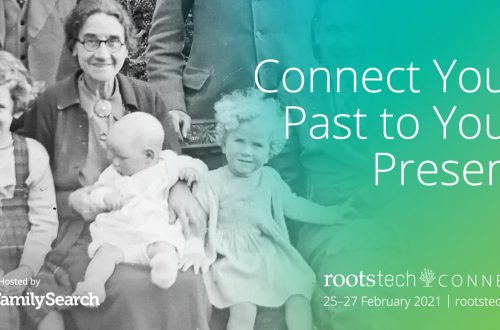 multi-generation black and white photo with green gradient for RootsTech Connect 2021